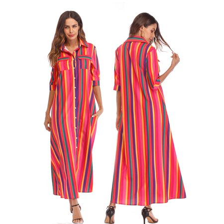 LELINTA Plus Size Womens Casual Half Sleeve Stripes Long Shirt Dress with Pocket Buckle Maxi Dresses - Striped Maxi Dress