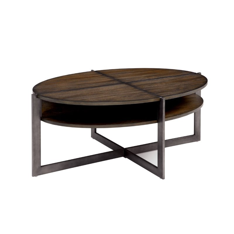 Furniture of America Prontus Oval Coffee Table in Dark Oak