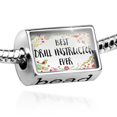 Bead Happy Floral Border Drill Instructor Charm Fits All European - Drill Instructor