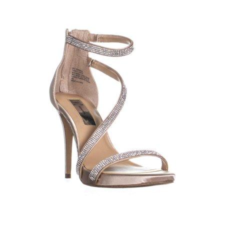 Womens I35 Senaraa Bejeweled Cross Strap Sandals, Beige