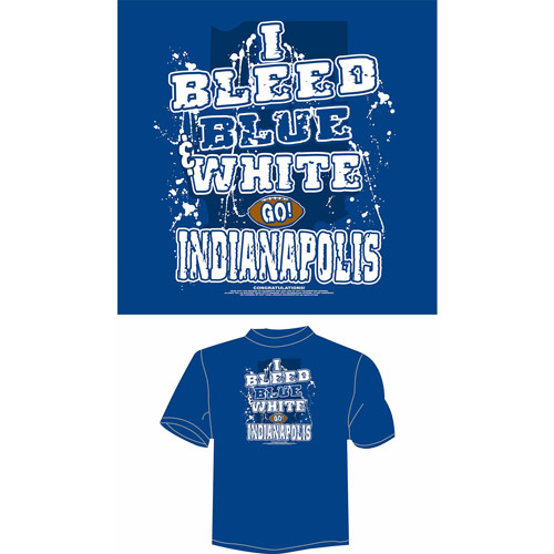 """Indianapolis Football """"I Bleed Blue and White, Go Indianapolis"""" T-Shirt, Blue"""