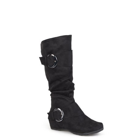 Women's Buckle Knee-High Microsuede Slouch Boot