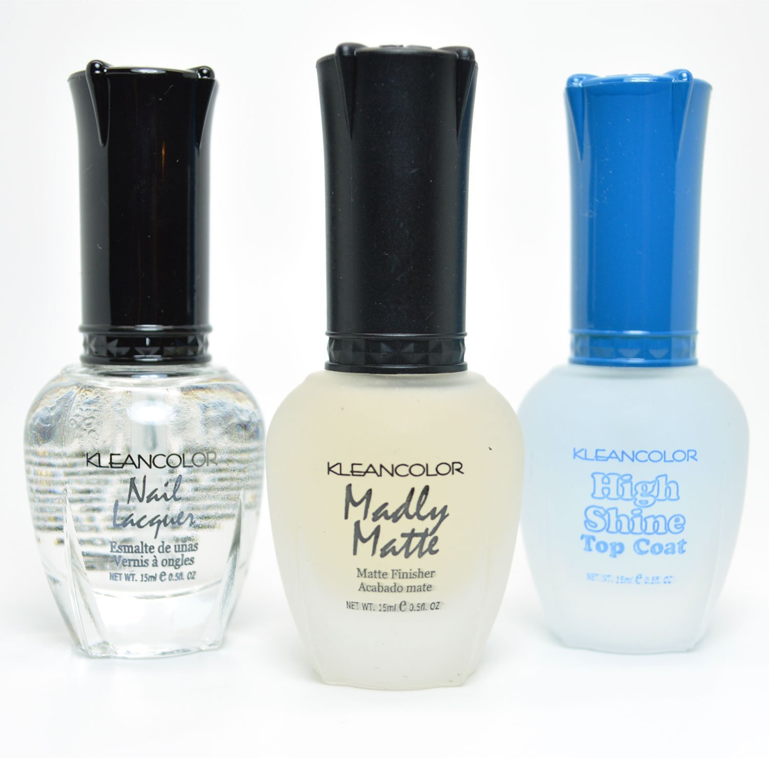 3 Kleancolor Nail Polish Madly Matte High Shine Top Coat Set Lacquer