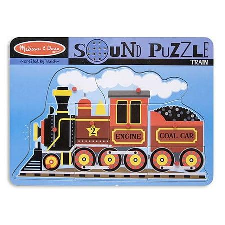 Melissa & Doug Train Sound Puzzle - Wooden Peg Puzzle With Sound Effects (9 pcs) - Train Puzzles