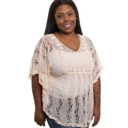 d2d166c1566 Silver Lilly - NEW Womens Junior Plus Size Sheer Crochet Lace Tank Top  (WHT