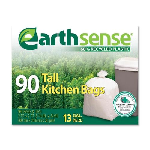 "Webster Tall Kitchen Bag - 13 gal - 23.75"" Width x 28"" Length x 0.70 mil (18 Micron) Thickness - Low Density - White - 9"