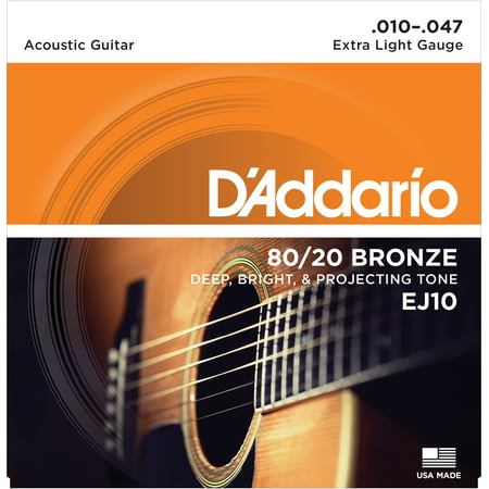 D'Addario EJ10 Bronze Acoustic Guitar Strings, Extra Light,