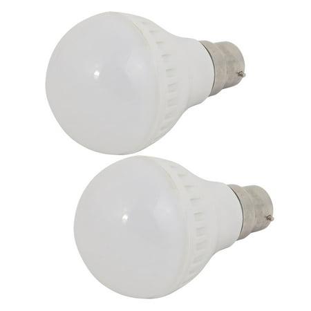 2 Pcs 3W Sliver Metal Ball - Bulb Lamp Housing B22 Adapter Base w Plastic Cover ()