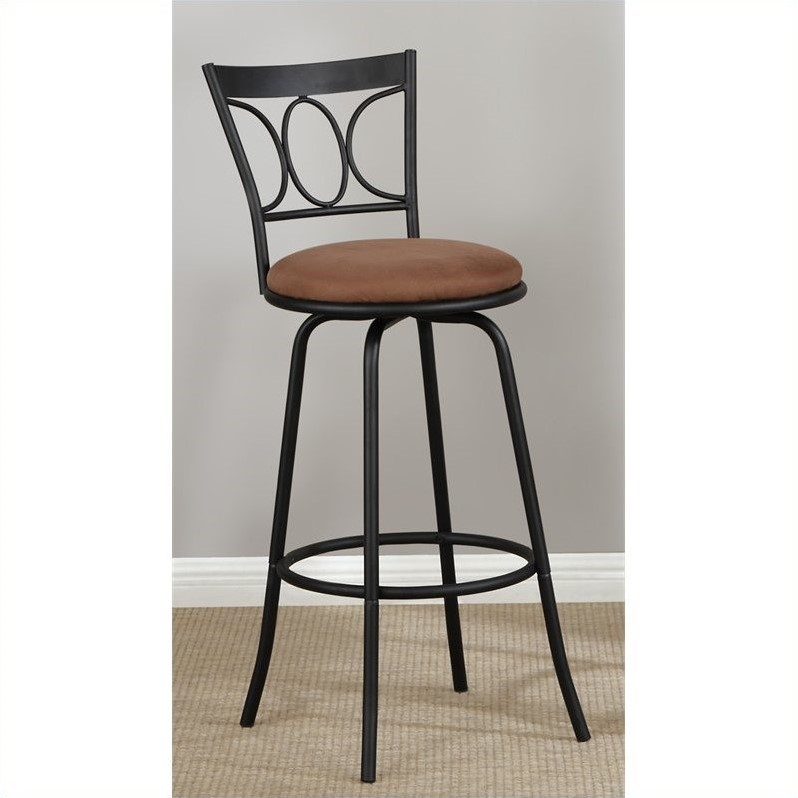 "PoundeX 24""-29"" Adjustable Bar Stool in Black (Set of 2)"
