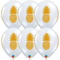 """Luau Luxe Summer Pineapple  11"""" Latex Balloons, Gold Clear, 6 CT"""