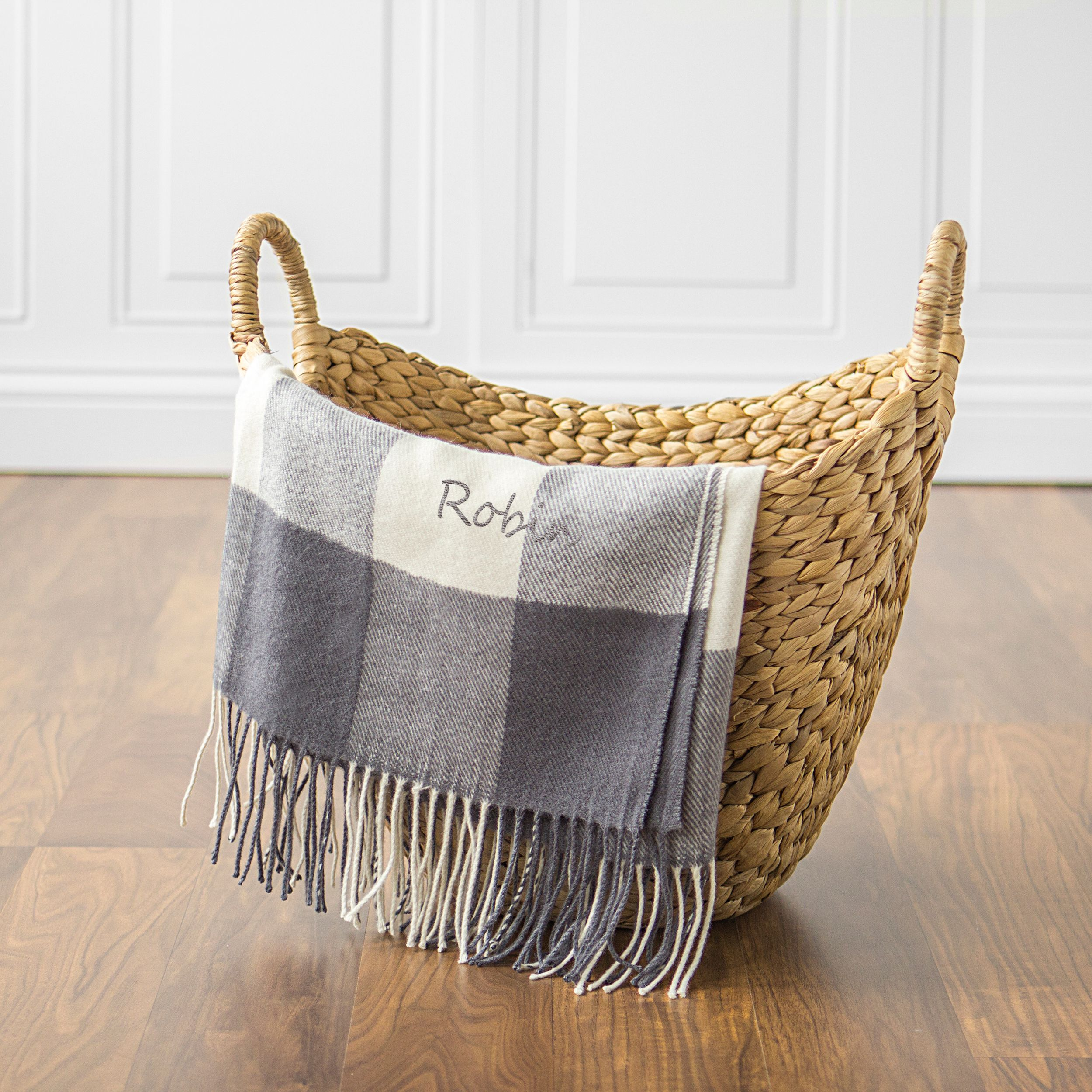 Personalized Grey Buffalo Check Throw