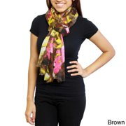 Saachi Women's Floral Watercolor Scarf (China) Brown