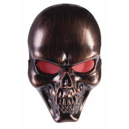 Bronze Skull Plastic Mask Skeleton Scary Halloween Costume Accessory