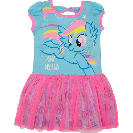 My Little Pony Toddler Girls' Tulle Dress Rainbow Dash, Blue and Pink (4T)