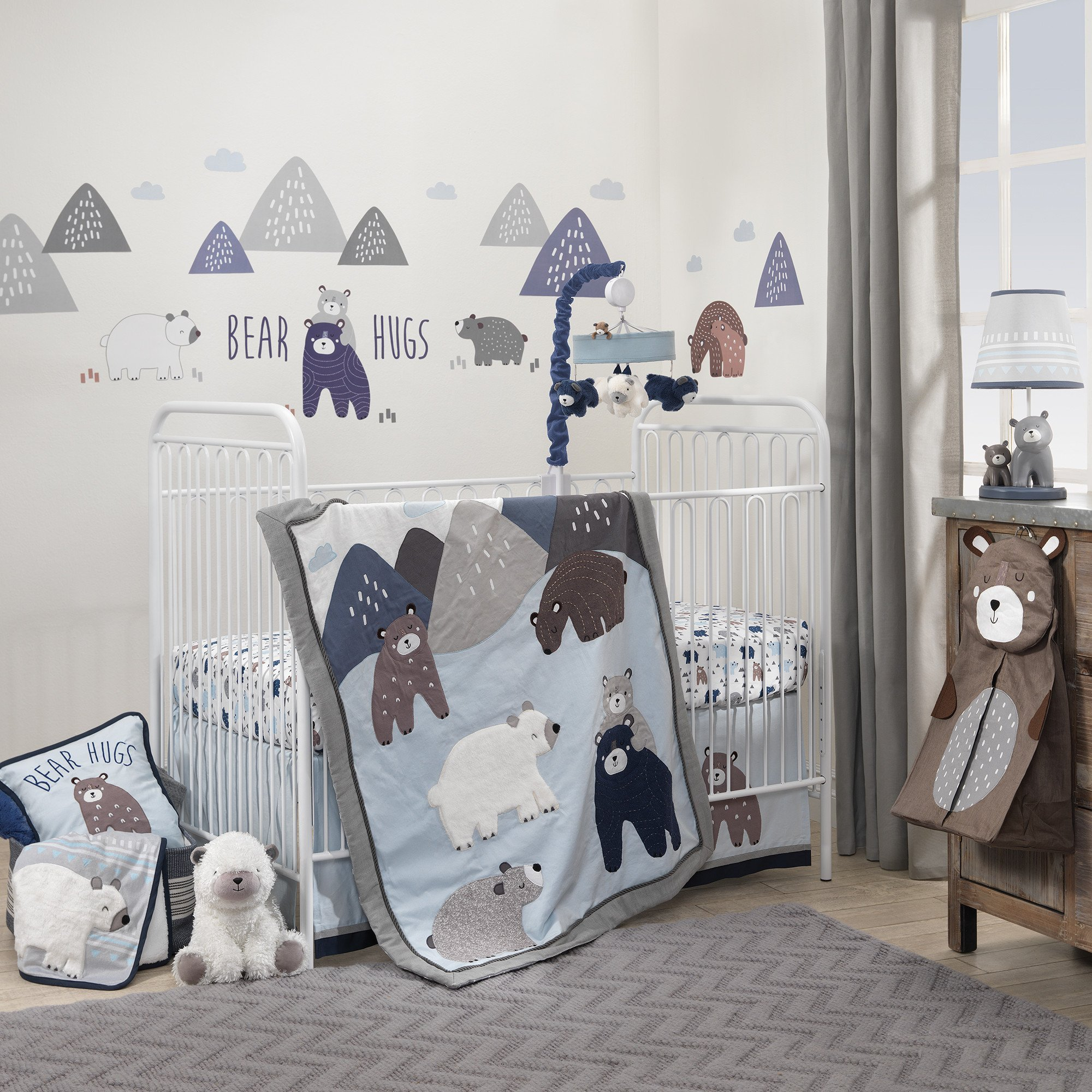 Lambs & Ivy Signature Montana 6-Piece Crib Bedding Set - Blue, Gray, White