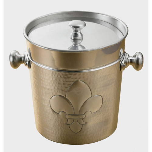 Kindwer Silver Dimpled Aluminum Fleur de Lis Ice Bucket