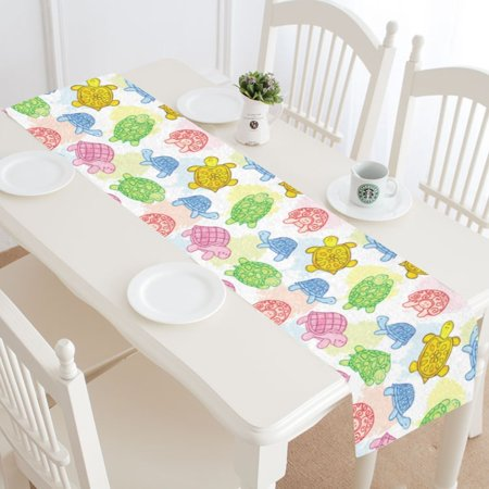 MYPOP Sea Turtle Colorful Table Runner Home Decor 14x72 Inch, Tortoise Table Cloth Runner for Wedding Party Banquet Decoration