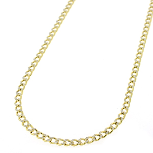 """14K Yellow Gold 2.5mm Hollow Cuban Curb Link Diamond Cut Pave Chain Necklace 16"""" 24"""" by"""
