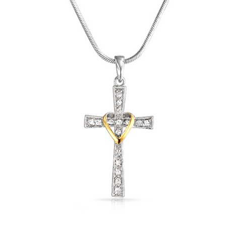 Infinity Love Of God For Women Heart And Cross Pendant CZ Pave Two Tone Necklace Silver Tone 14K Gold Plated Brass 16 In