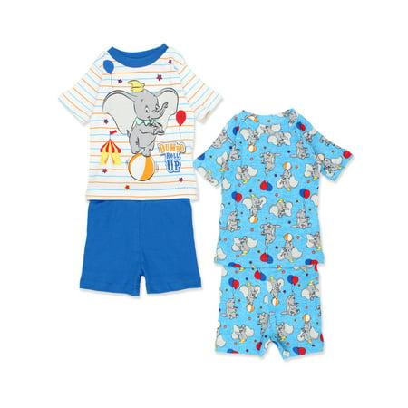 Disney Baby Pajamas (Disney Dumbo Infant Baby 2fer 4 piece Tee Shorts Cotton Pajamas Set)