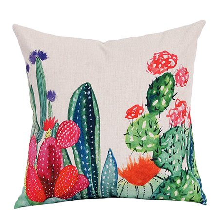 Throw Pillow Case, Linen Square Zipper Rural Tropical Succulent Plants Pillow Cushion Cover Sham Protector for Home Office Sofa Car Couch Decor Clearance 18'*18'