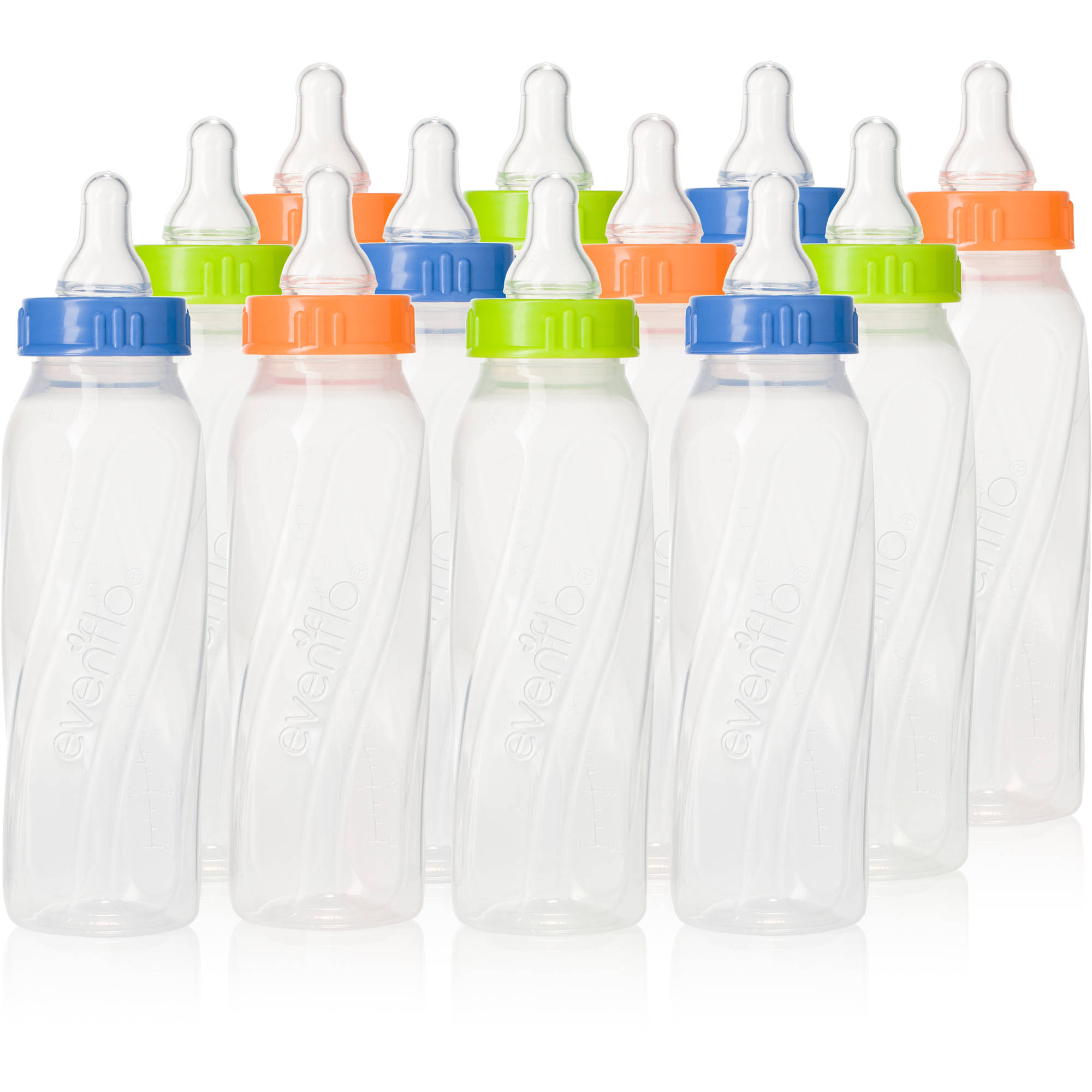 Evenflo Classic Twist 8oz Bottle, Clear, Unisex, 12-Pack, BPA-Free