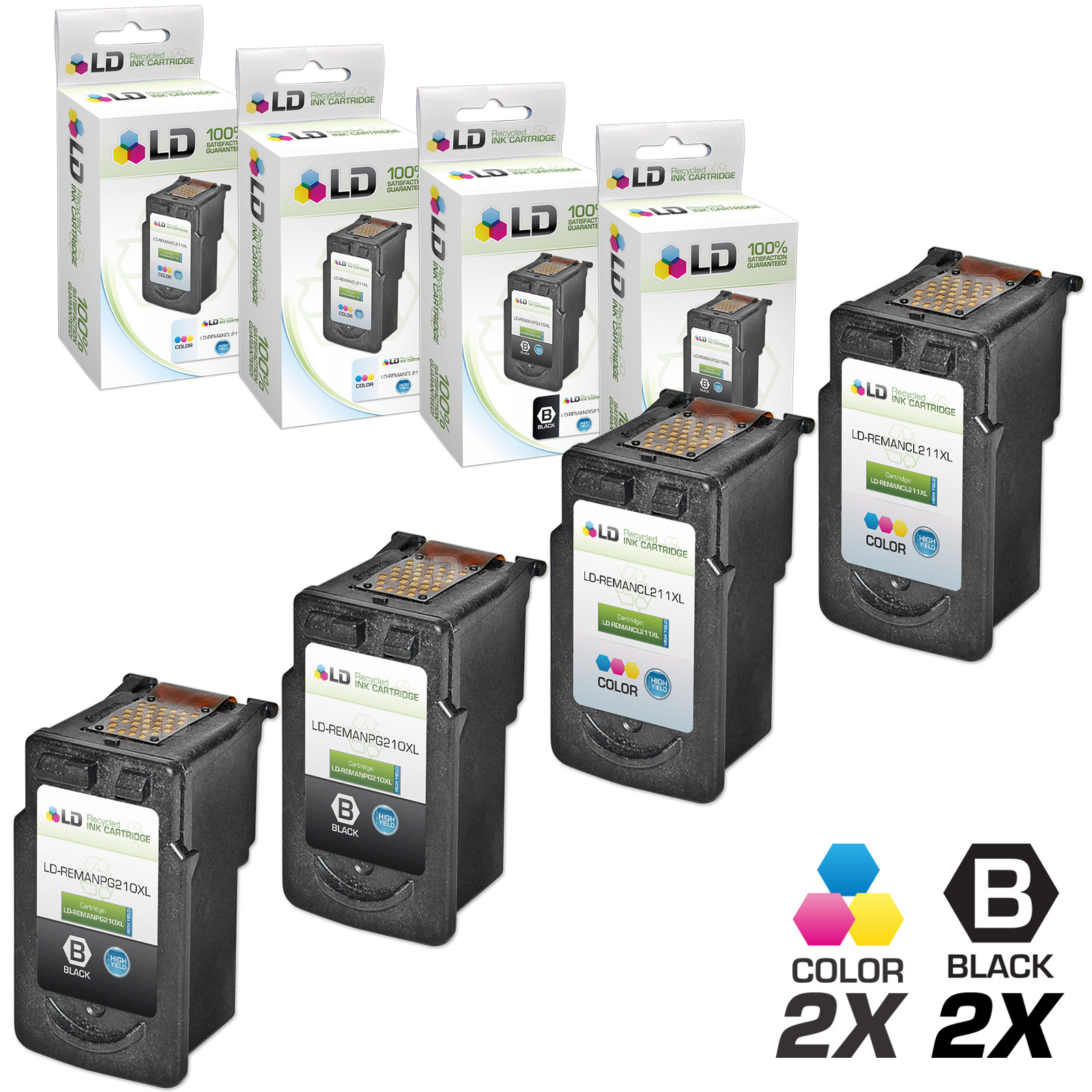 LD Canon Remanufactured PG210XL / PG210 & CL211XL / CLI211 Set of 4 High Yield Ink Cartridges: Includes 2 Black PG-210XL