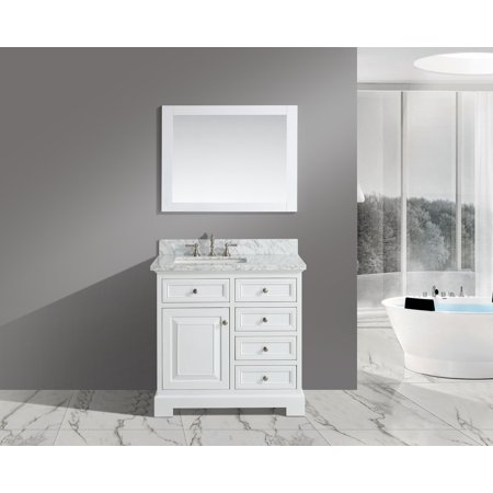 Italian White Carrara Marble - UrbanFurnishing.net - Rochelle 36-Inch (36