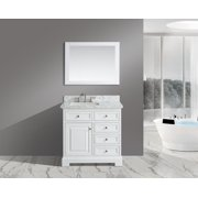 "UrbanFurnishing.net - Rochelle 36-Inch (36"") Bathroom Sink Vanity Set with White Italian Carrara Marble Top - White"