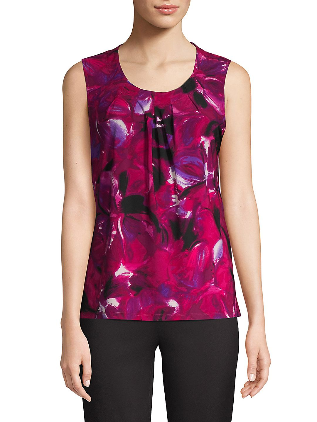 Floral Pleated Front Tank Top