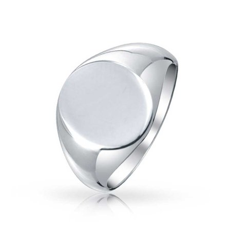 Basic Simple Monogram Engravable 925 Sterling Silver Oval Signet Ring For Men For -