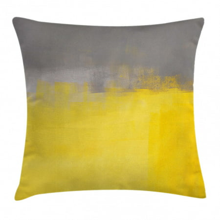 Grey and Yellow Throw Pillow Cushion Cover, Grunge Street Style Painting Brush Print Ombre Design Image, Decorative Square Accent Pillow Case, 16 X 16 Inches, Charcoal Grey and Marigold, by Ambesonne ()