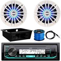 "JVC KD-X35MBS Marine Single-DIN AM/FM Bluetooth SiriusXM Ready Receiver, 2 x Enrock 6.5"" 2-Way 180W Speakers w/ Blue LED (White), Receiver Installation Kit, Antenna, Speaker Wire"