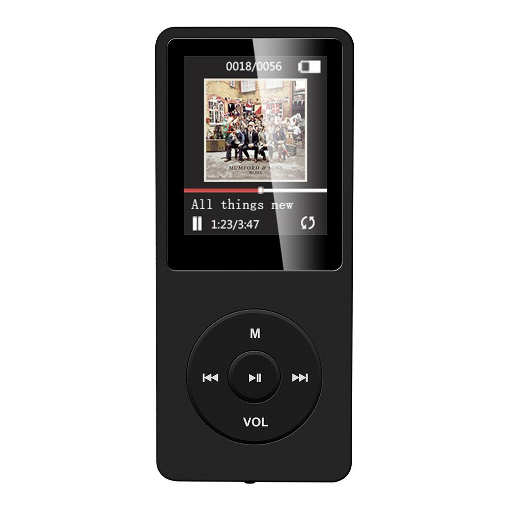 AGPTEK 16GB MP3 Player,Lossless Sound music player with Micro SD Card Slot, Black A02S