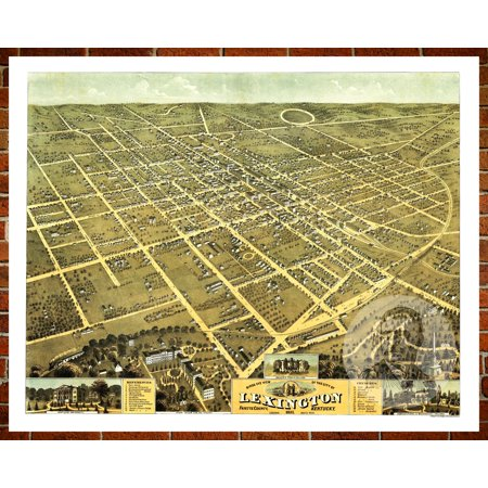 Ted's Vintage Art Map of Lexington, KY 1871; Old Kentucky Decor 8