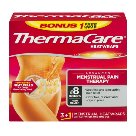 ThermaCare Advanced Menstrual Pain Therapy (3 Count + 1 Bonus) Heatwraps, Up to 8 Hours Pain Relief, Temporary Relief of Menstrual Cramp Pain, Back Aches, Discreet