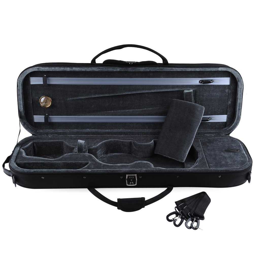 ADM Full Size Oblong Shape Lightwight Violin Case with Hygrometer and Carry Straps by Adm