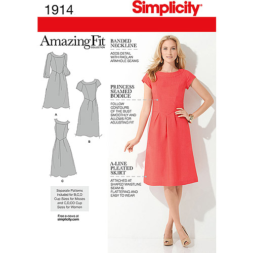 Simplicity Pattern Misses' and Plus Size Amazing Fit Dresses, (20W-28W)