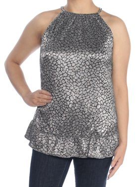 380607d502aadc Product Image MICHAEL KORS Womens Silver Metallic Animal Halter Top Size: S