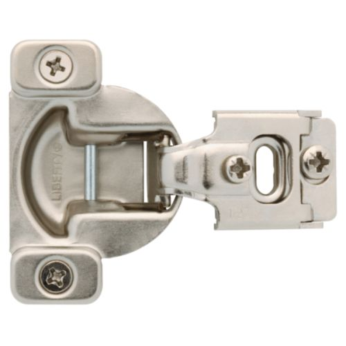 1/2 Inch Partial Overlay 2 Prong Base Plate Face Frame Hinge (Set of 2)