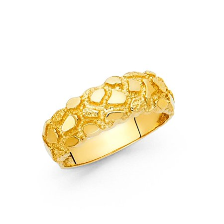 - Nugget Solid Ring Band 14k Yellow Gold Textured Diamond Cut Polished Fancy Design 7MM
