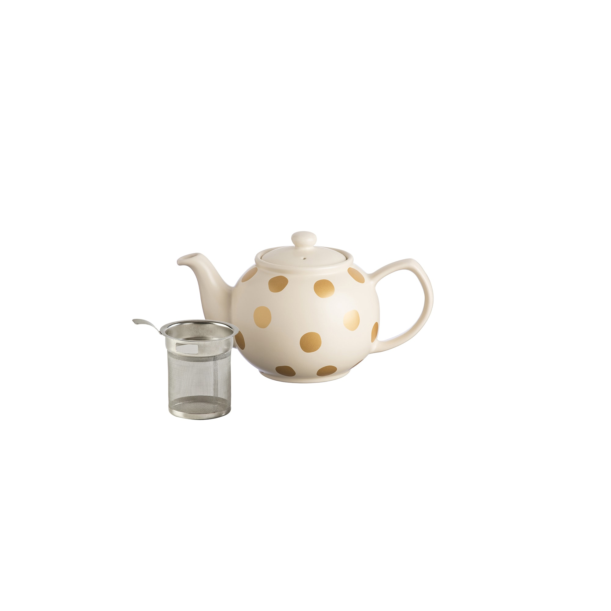 Typhoon  Gold and Cream Spotted 6Cup Teapot