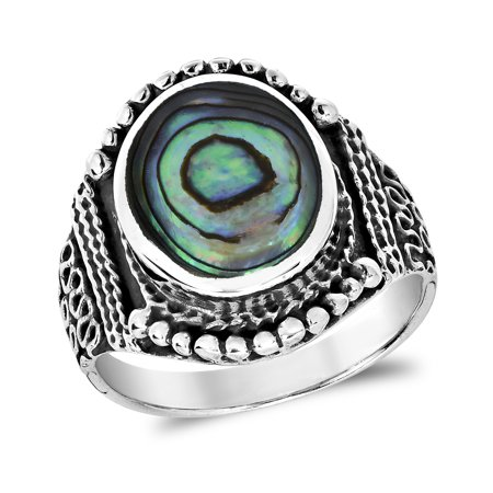 Balinese Shell - Rainbow Abalone Vintage Oval Balinese Style Sterling Silver Ring-11
