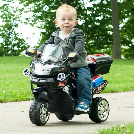 Ride on Toy, 3 Wheel Motorcycle Trike for Kids by Hey! Play! – Battery Powered Ride on Toys for Boys and Girls, 2 - 5 Year Old - Black - Good Toys For 8 Year Old Boy