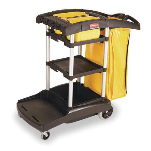 RUBBERMAID FG9T7200BLA Janitor Cart, Black, Plastic/Aluminium
