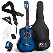 Beginner Classical Acoustic Guitar - 3/4 Junior Size 6 String Linden Wood Guitar w/ Gig Bag, Tuner, Nylon Strings, Picks, Strap, For Beginners, Adults - Pyle PGACLS82BLU (Blu