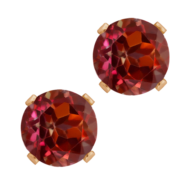 1.28 Ct Round Shape Red Rhodolite Garnet Rose Gold Plated Silver Stud Earrings