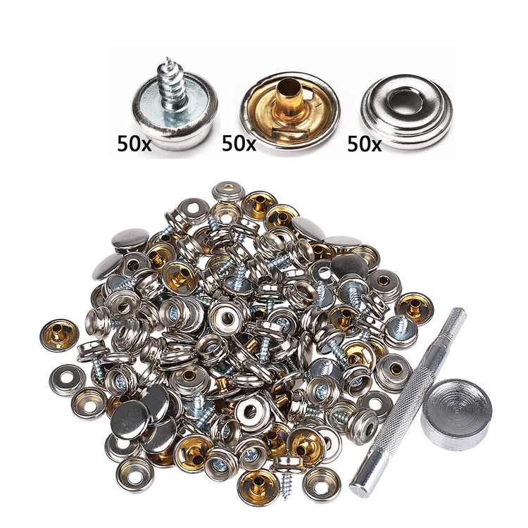 150PCS Stainless Steel Boat Marine Canvas Fabric Snap Cover Button & Socket & Screw Stud Kit
