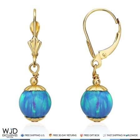 14K Solid Yellow Gold 8 mm Ball Shaped Blue Fire Opal Leverback Dangle Earrings