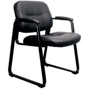 (Set of 4) Essentials by OFM ESS-9015 Leather Executive Side Chair with Sled Base, Black, Reception Waiting Room Chair
